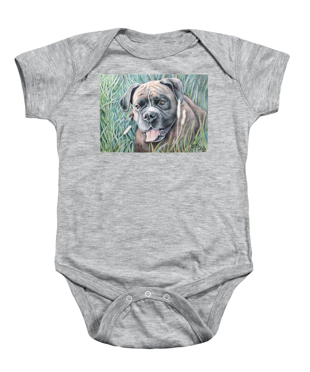 Dog Baby Onesie featuring the drawing Boxer Yosi by Nicole Zeug