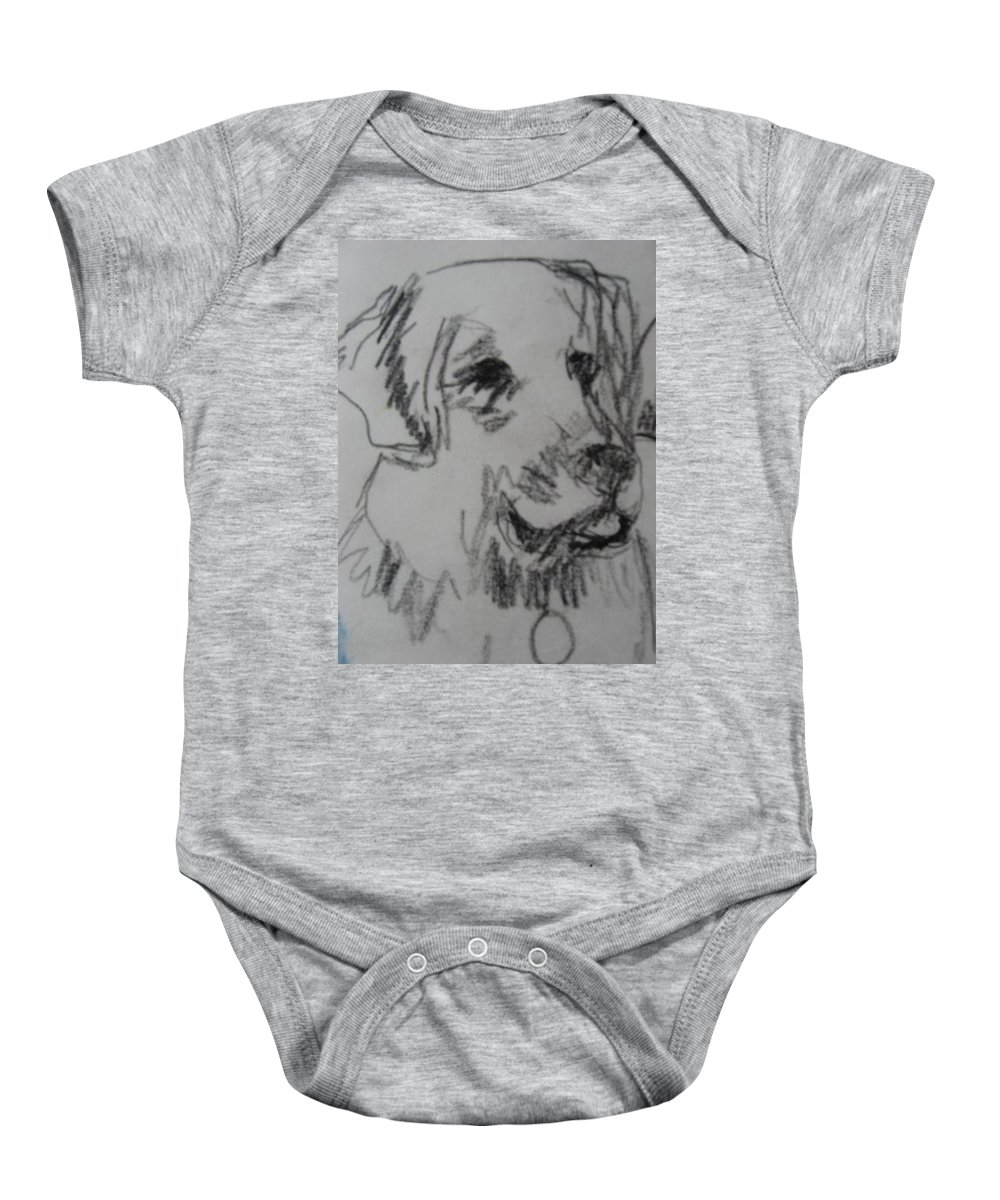 Drawing Baby Onesie featuring the drawing Boy And Dog Under Sky by Melody Horton Karandjeff