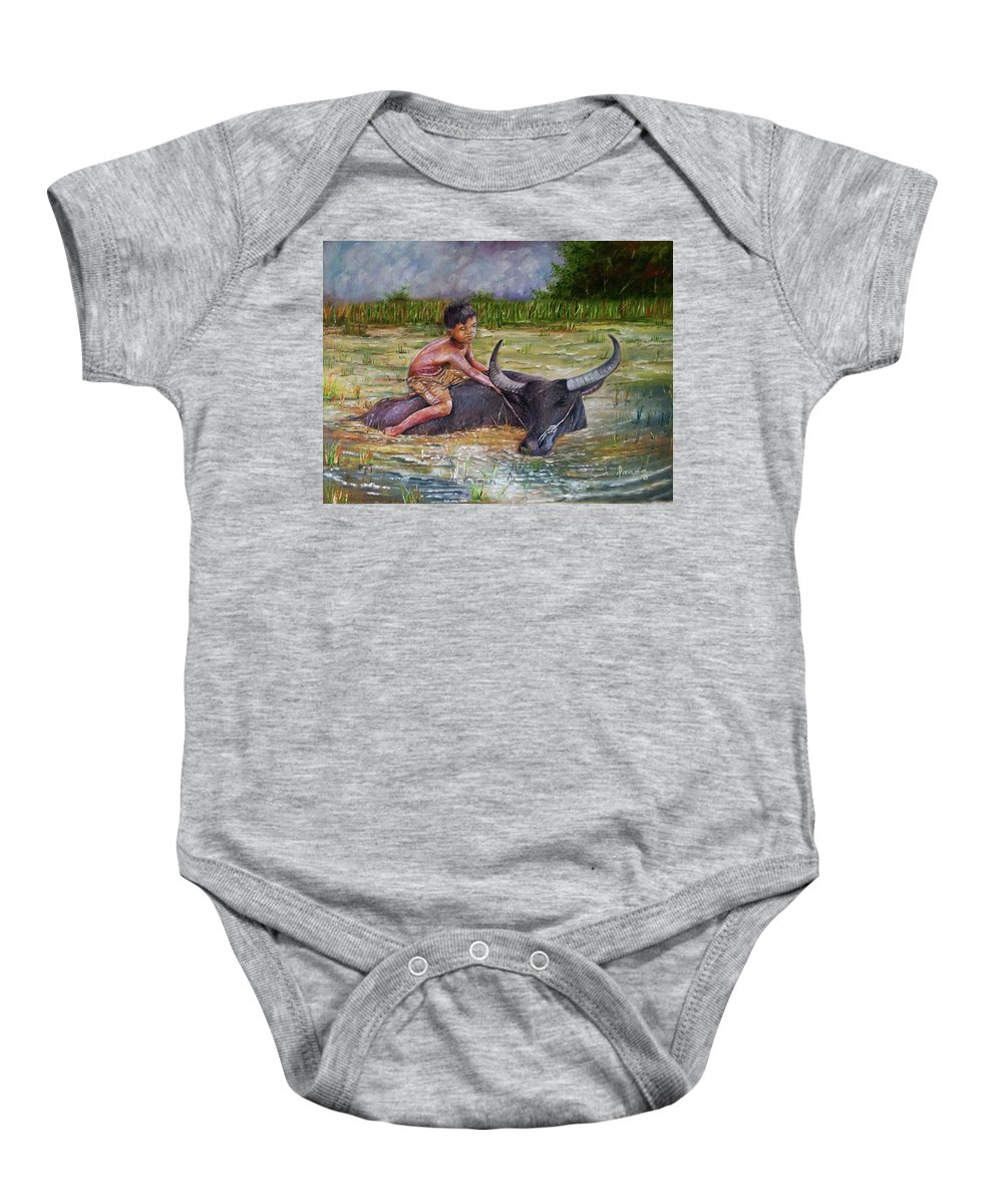 Boy Baby Onesie featuring the painting Boy In A Carabao by Arnildo Danga