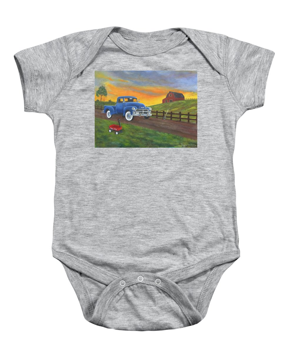 Baby Onesie featuring the painting Boys Toys by Sharon Coray