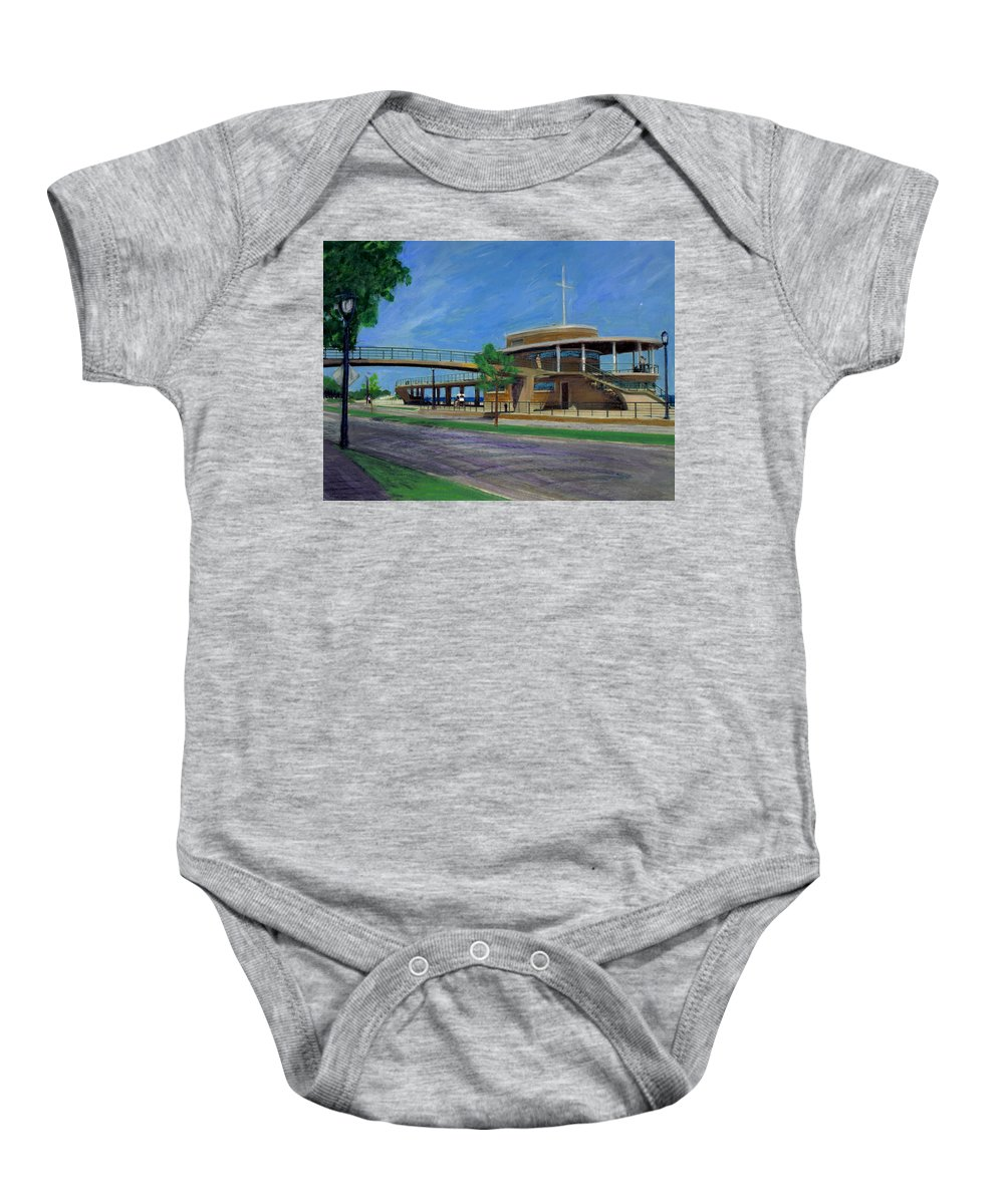 Miexed Media Baby Onesie featuring the mixed media Bradford Beach House by Anita Burgermeister