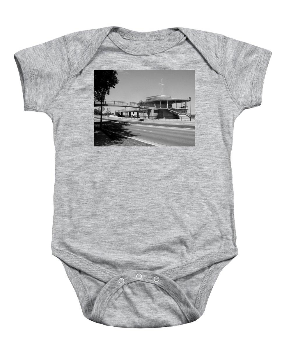 Bradford Beach House Baby Onesie featuring the photograph Bradford Beach House B-w by Anita Burgermeister