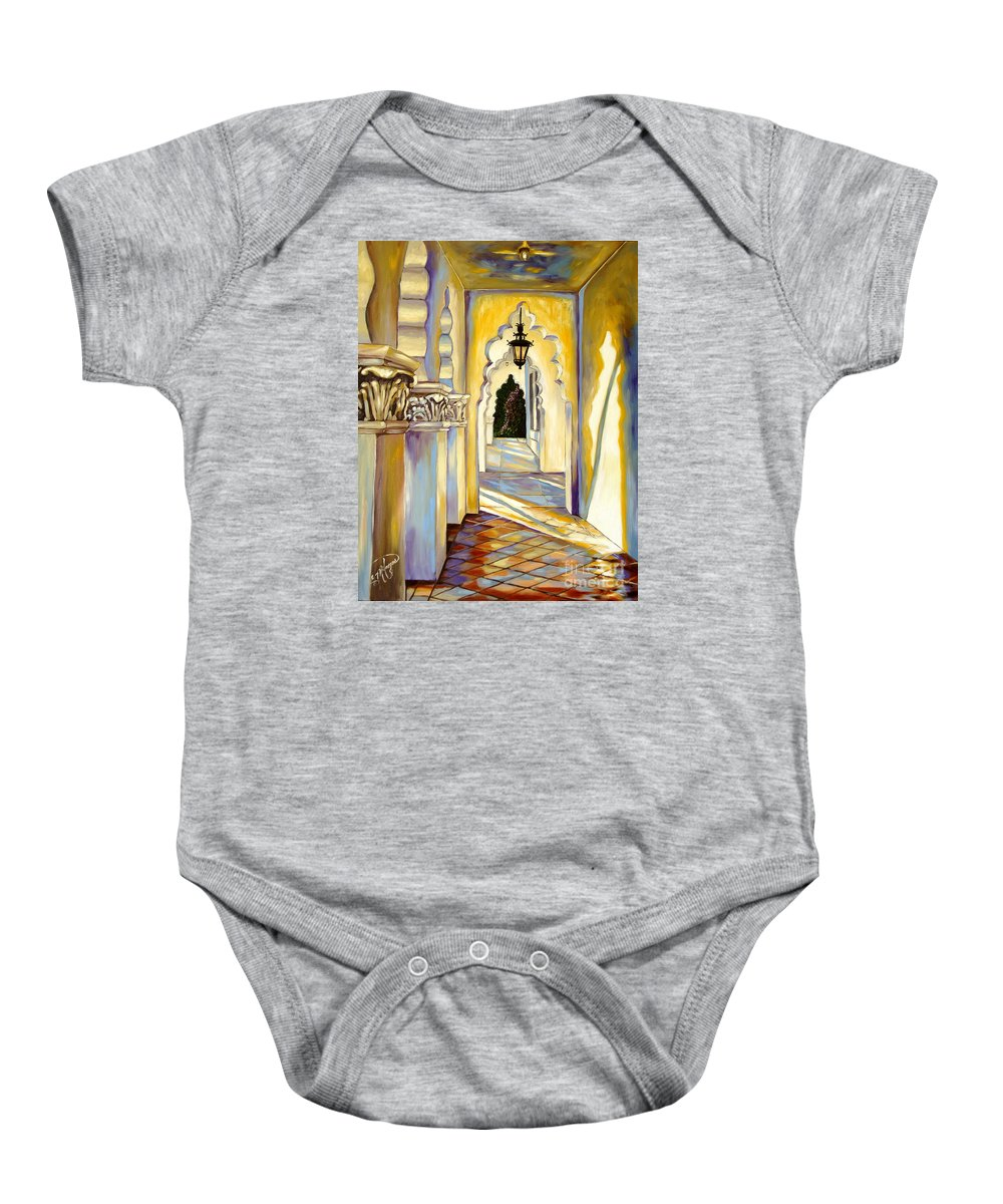 Landscape Baby Onesie featuring the painting Brand Library Hall by Milagros Palmieri