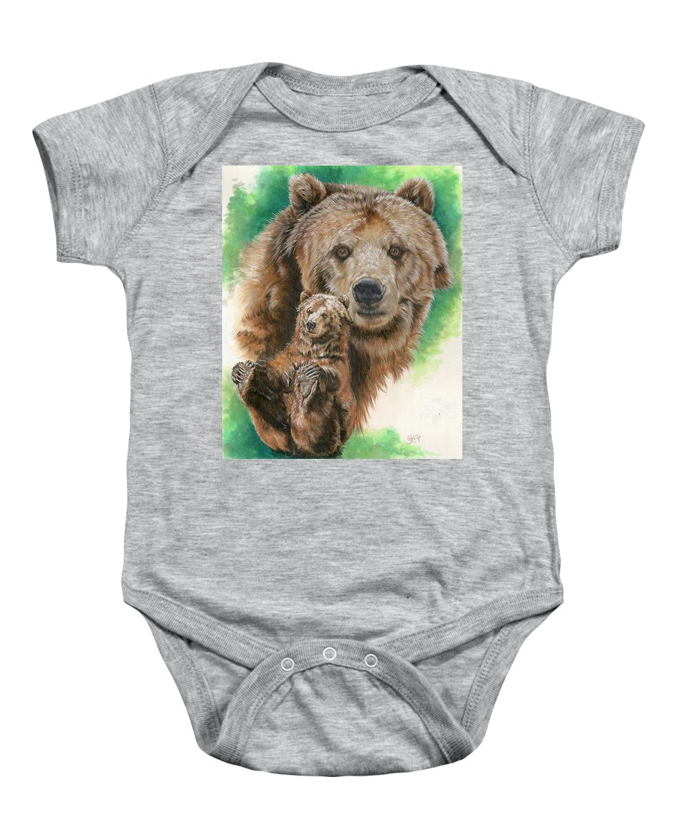 Bear Baby Onesie featuring the mixed media Brawny by Barbara Keith