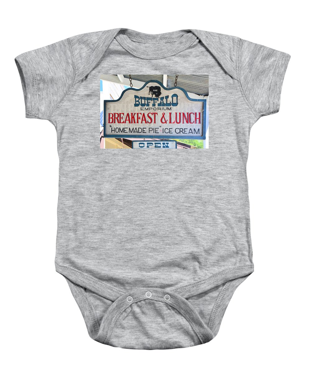 Sign Baby Onesie featuring the photograph Breakfast And Lunch by Josephine Buschman