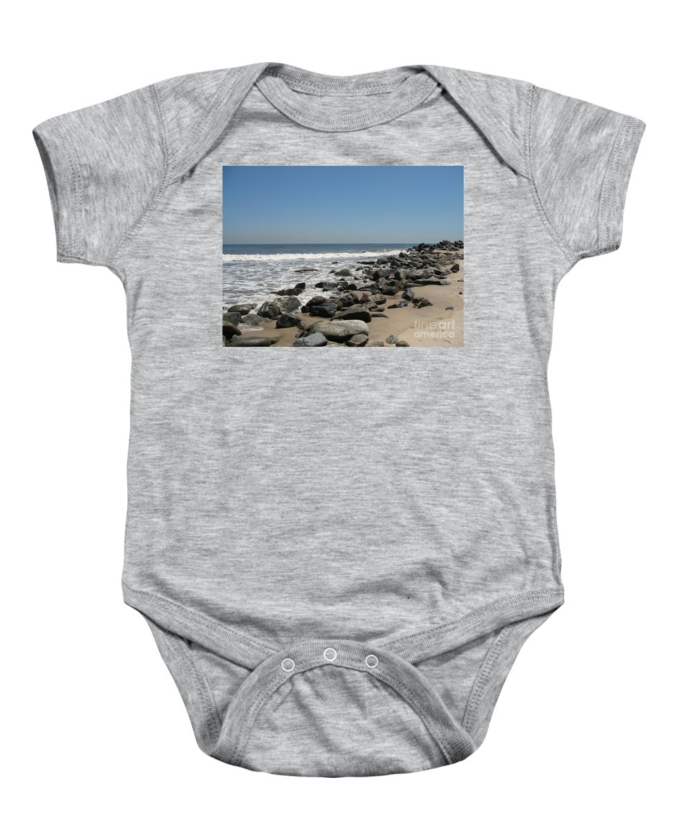 Beach Baby Onesie featuring the photograph Breakwaters by Christiane Schulze Art And Photography