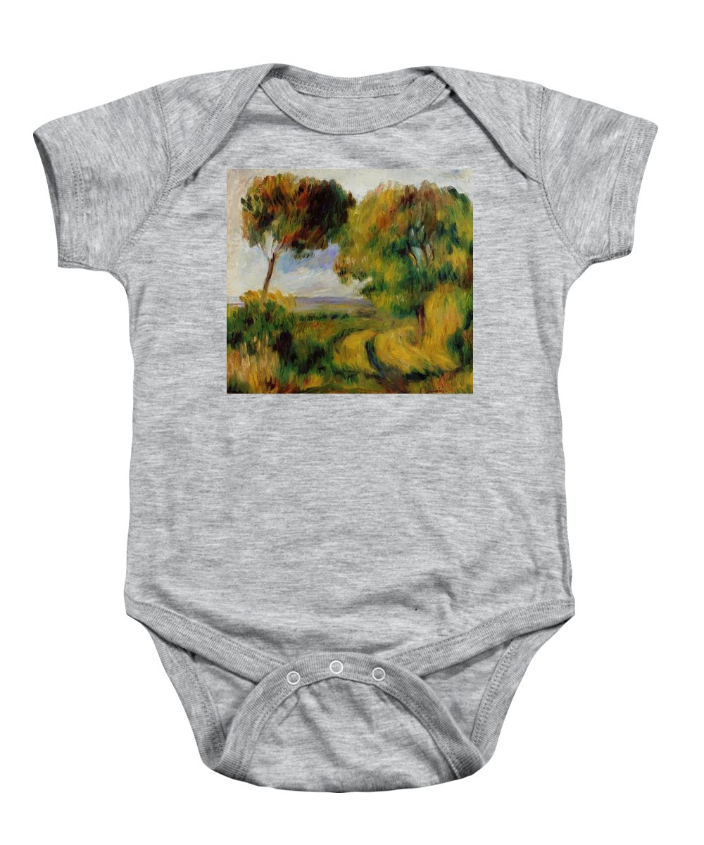 Breton Baby Onesie featuring the painting Breton Landscape Trees And Moor 1892 by Renoir PierreAuguste
