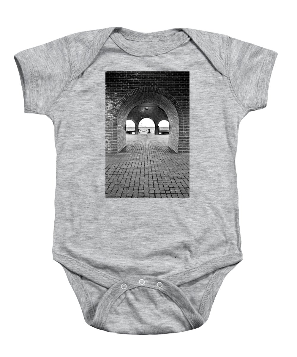 Arch Baby Onesie featuring the photograph Brick Arch by Greg Fortier