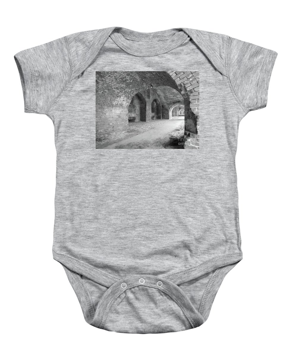 Architecture Baby Onesie featuring the photograph Brick Architecture by Michelle Powell
