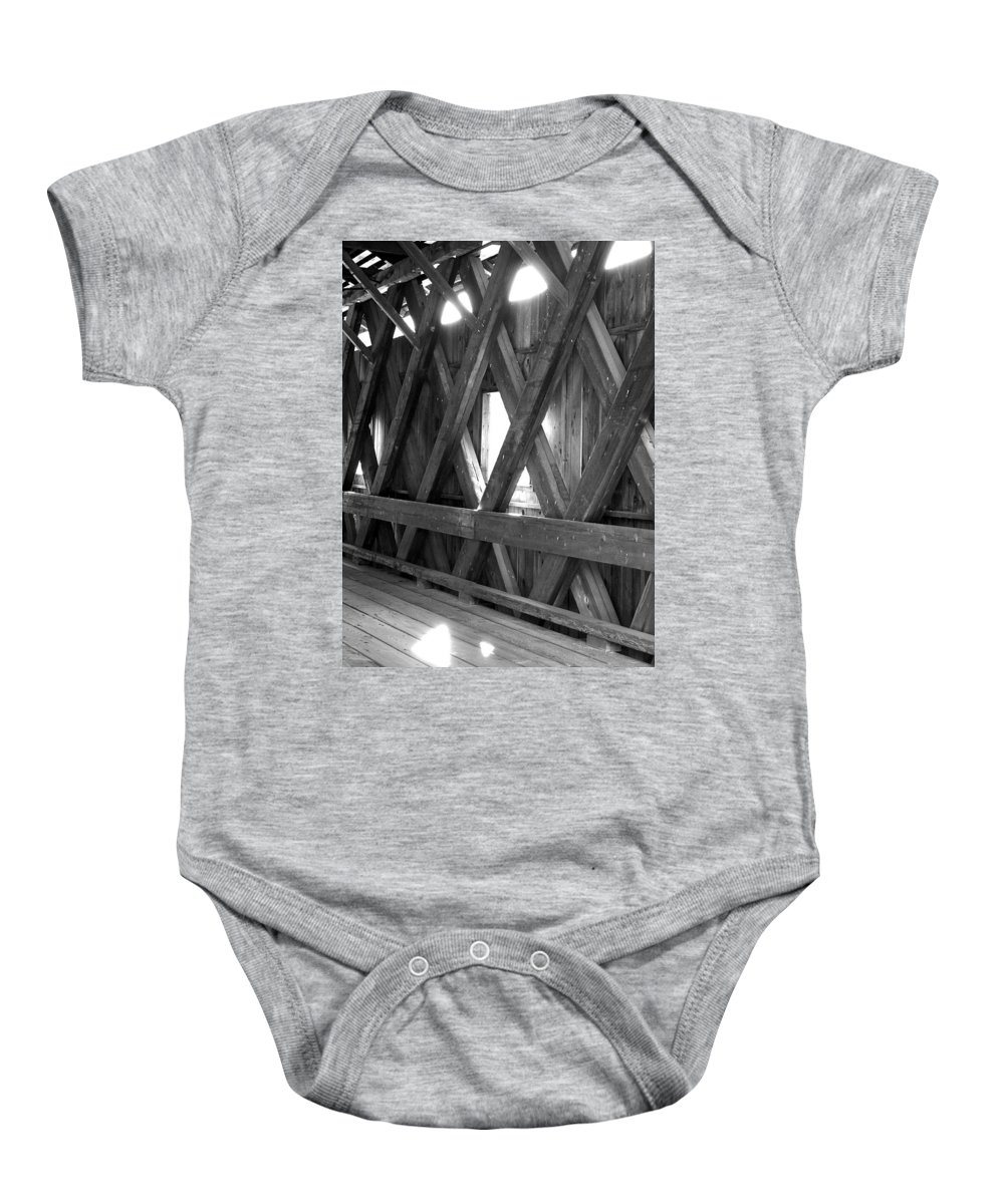 Covered Bridge Baby Onesie featuring the photograph Bridge Glow by Greg Fortier