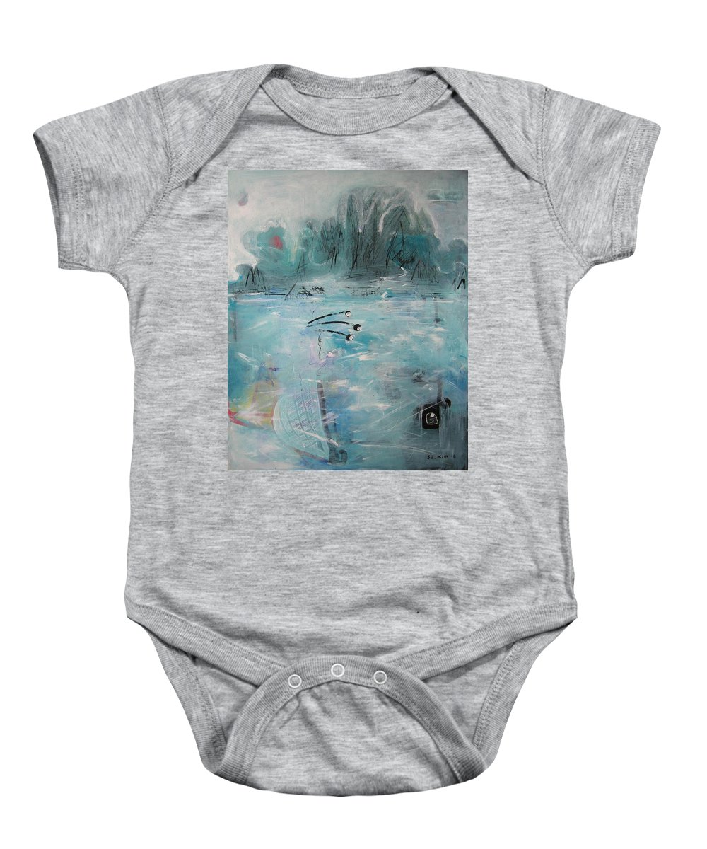 Abstract Paintings Baby Onesie featuring the painting Brierly Beach by Seon-Jeong Kim