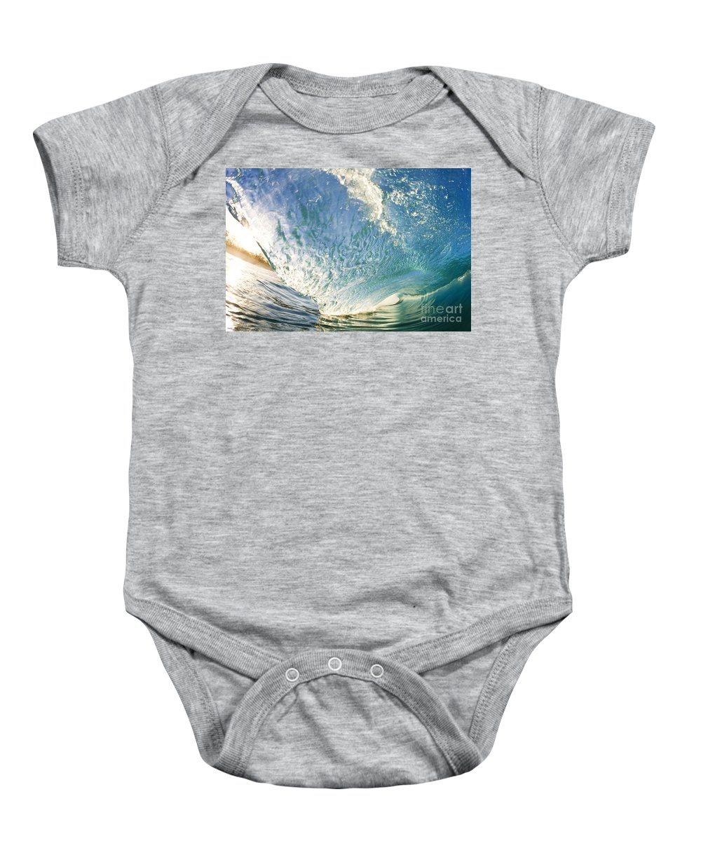 Aqua Baby Onesie featuring the photograph Bright Wave - Makena by MakenaStockMedia - Printscapes