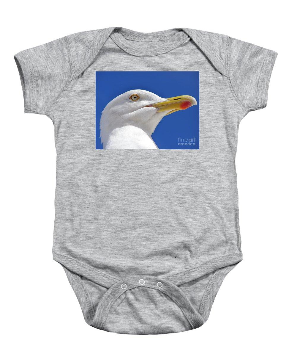 Bird Baby Onesie featuring the photograph British Herring Gull by Terri Waters