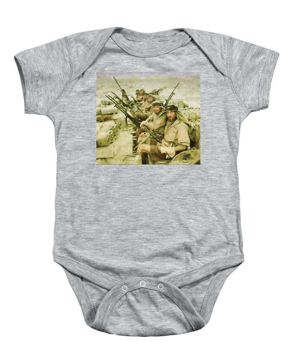Sas Baby Onesie featuring the painting British Sas by Michael Cleere