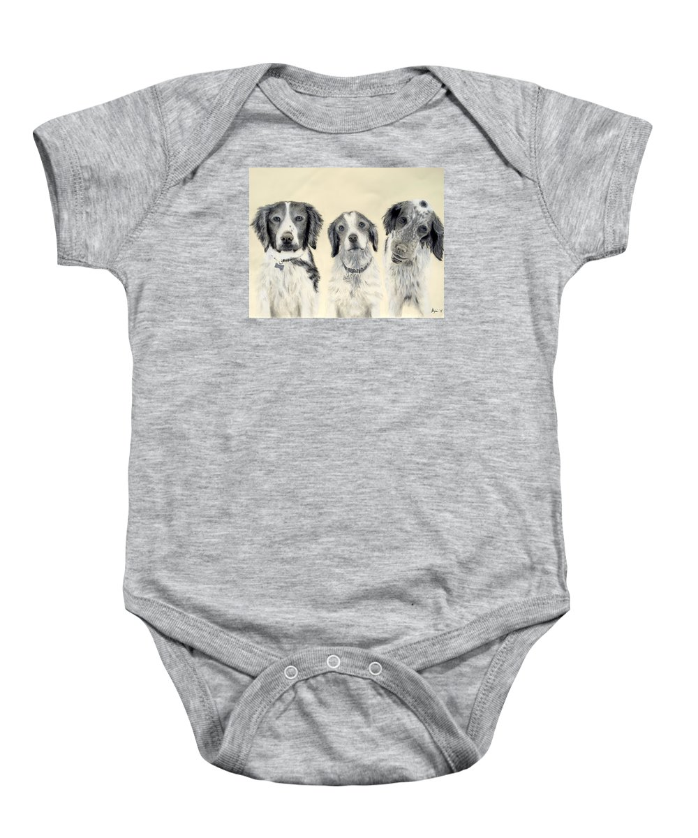 Dog Baby Onesie featuring the drawing Brittanys by Benjamin Gassmann