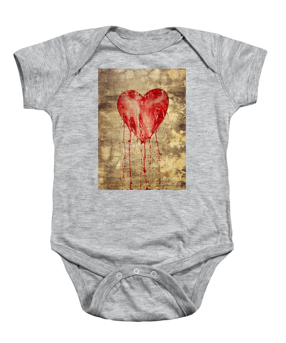 Bleeding Baby Onesie featuring the digital art Broken And Bleeding Heart On The Wall by Michal Boubin