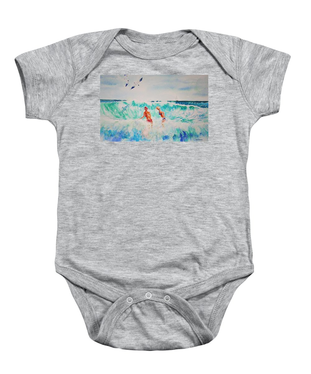 Surf Baby Onesie featuring the painting Brooke And Carey In The Shore Break by Tom Harris