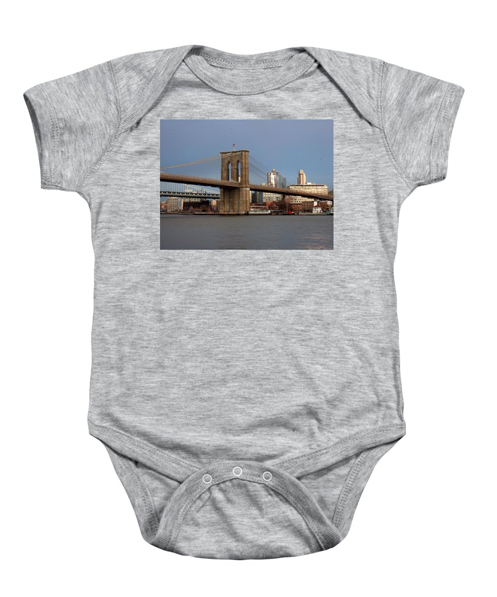 Brooklyn Bridge Baby Onesie featuring the photograph Brooklyn Bridge by Anita Burgermeister