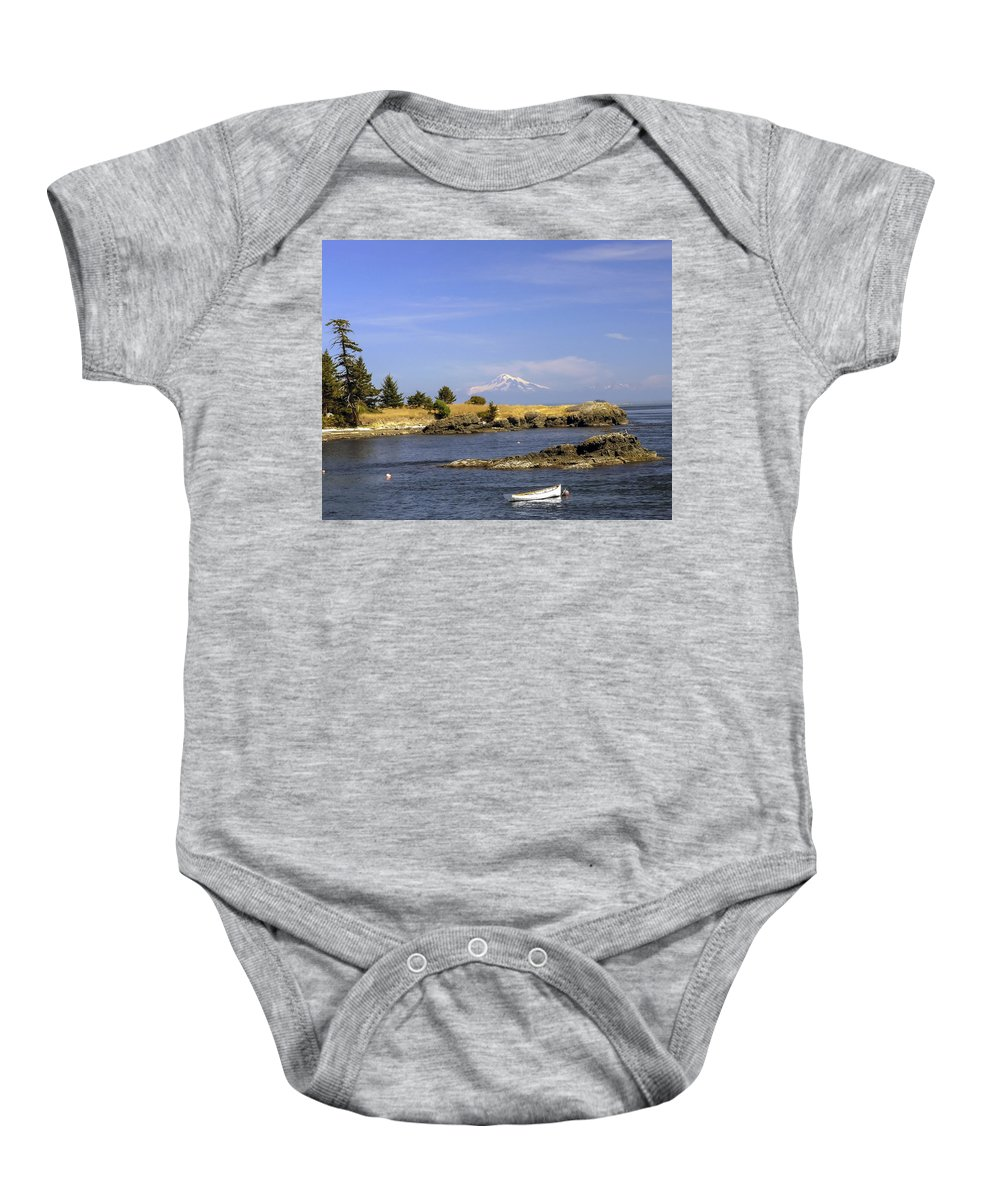 Row Boat Baby Onesie featuring the photograph Brooks Point With Mt. Baker by Derek Holzapfel