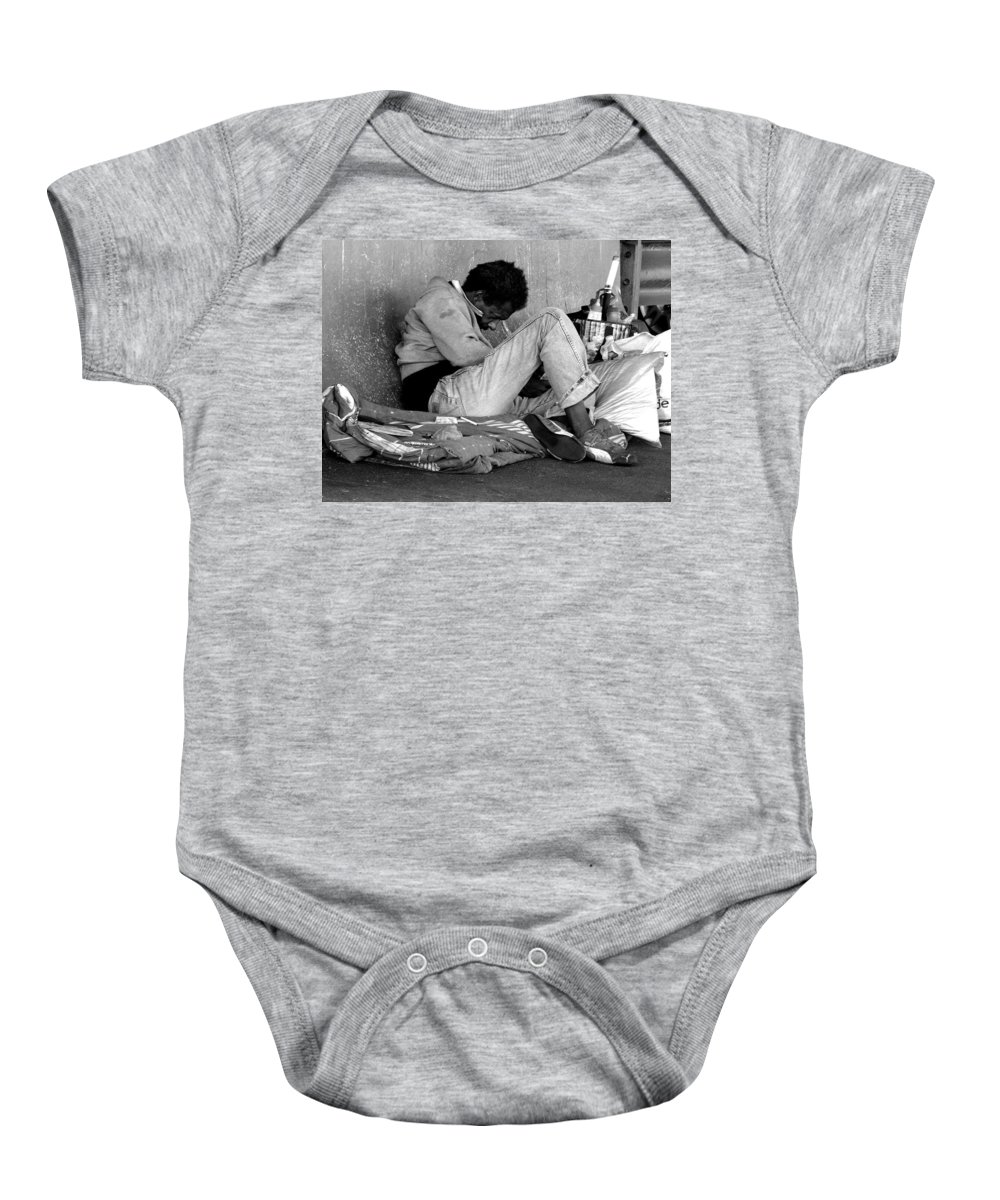 Homeless Baby Onesie featuring the photograph Brother Can You Spare A Dime by Kendall Eutemey