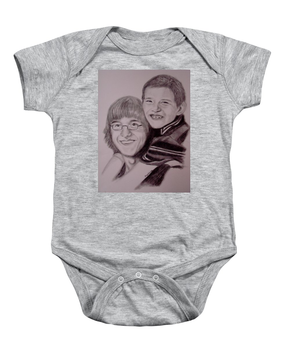 Portrait Baby Onesie featuring the drawing Brothers For Life by Glory Fraulein Wolfe