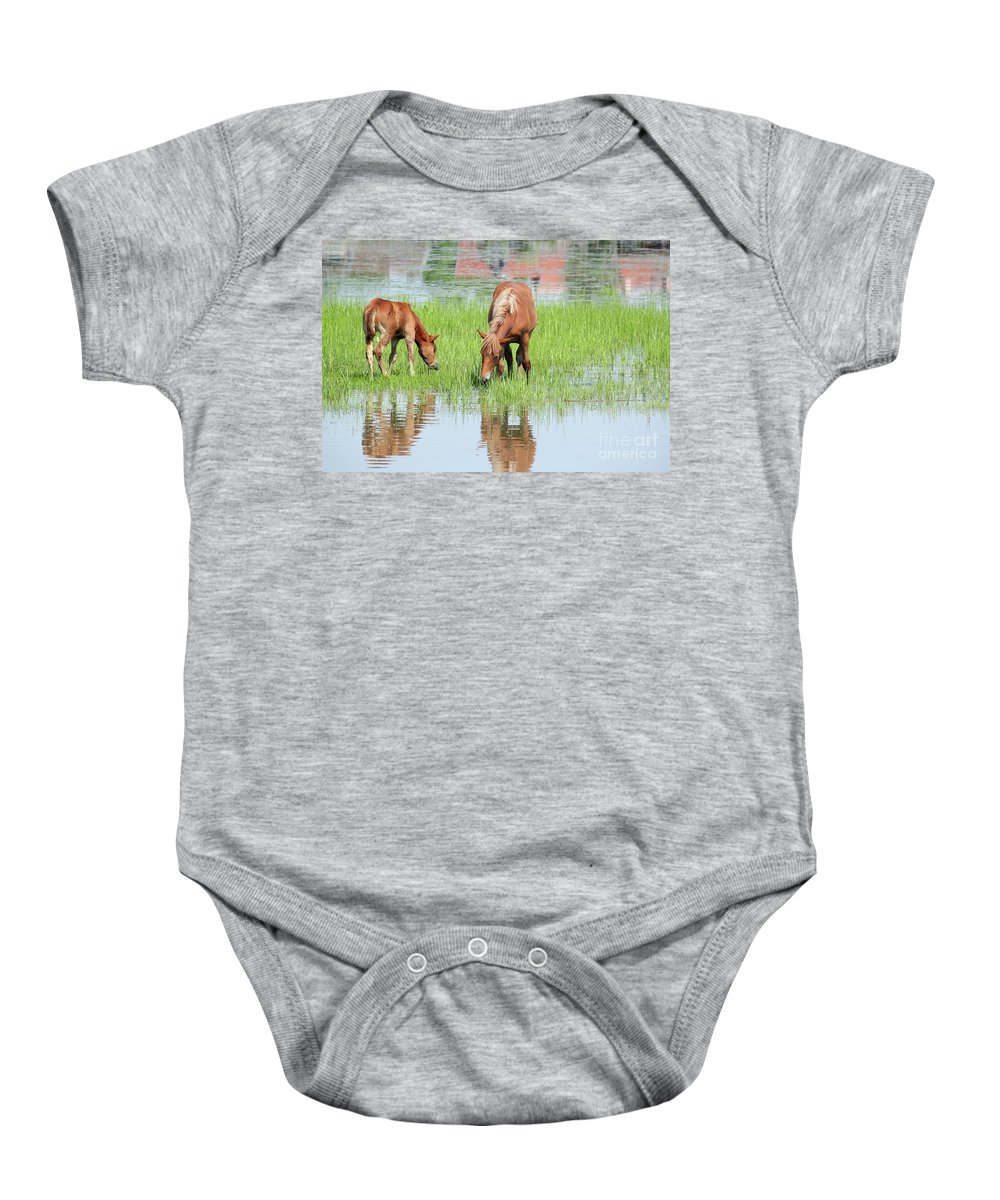 Horse Baby Onesie featuring the photograph Brown Horse And Foal Nature Spring Scene by Goce Risteski