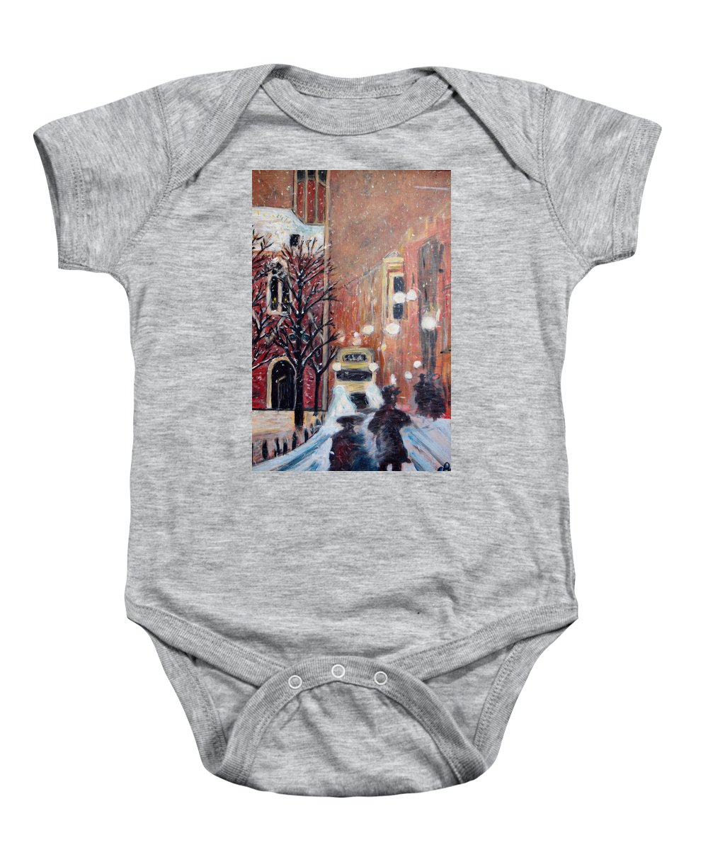 Belgium Baby Onesie featuring the painting Brussels At Night by Carolyn Donnell