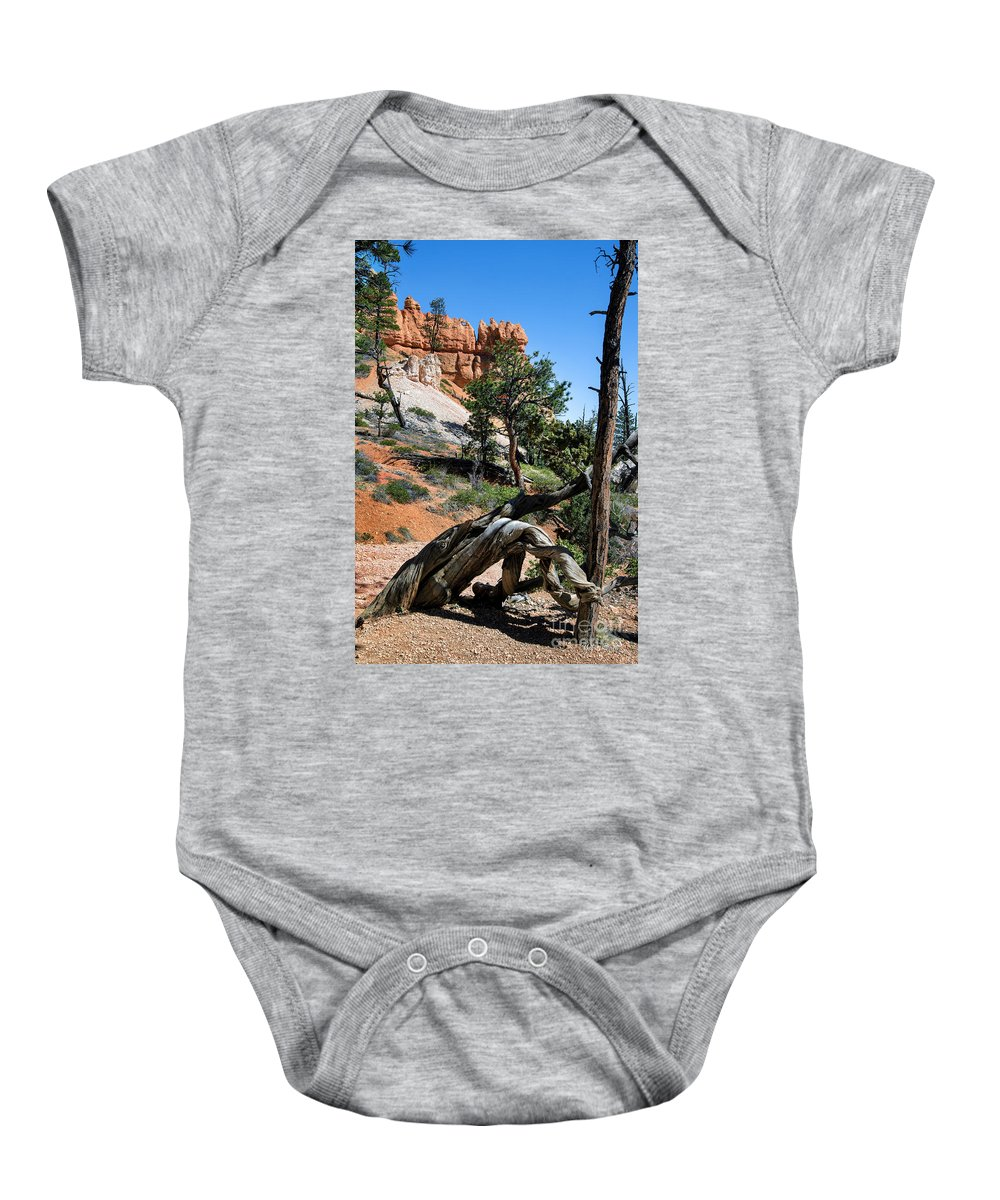 Navajo Trail Baby Onesie featuring the photograph Spires On Navajo Trail by Yefim Bam