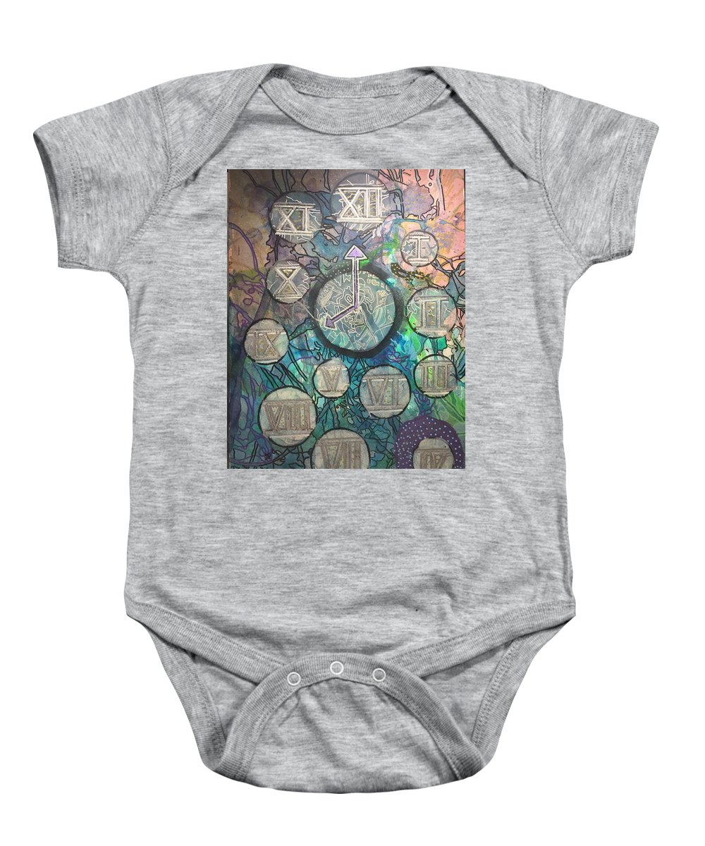 Clock Baby Onesie featuring the mixed media Bubble Clock by Regina Jeffers