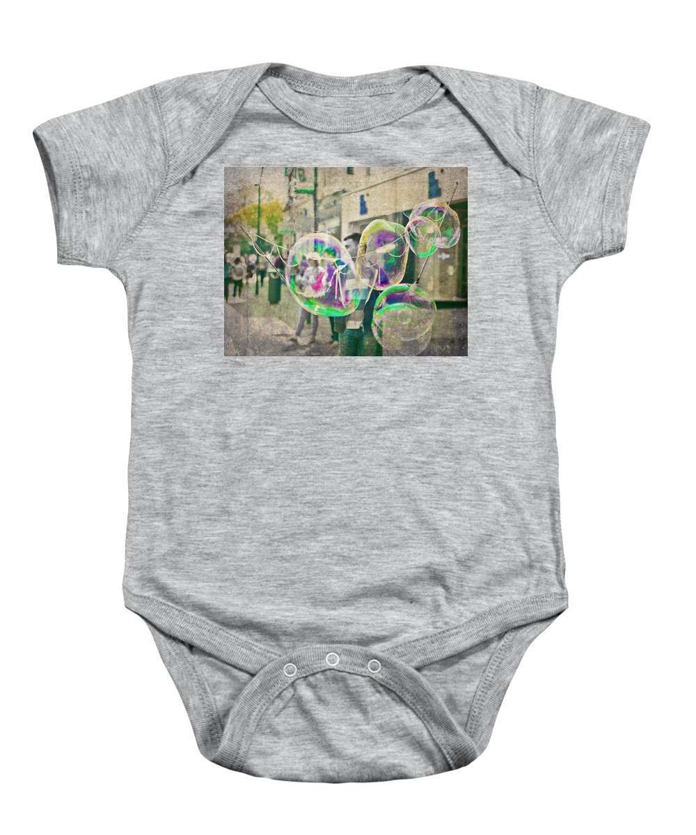 Bubbles Baby Onesie featuring the photograph Bubbles by Alex Art and Photo