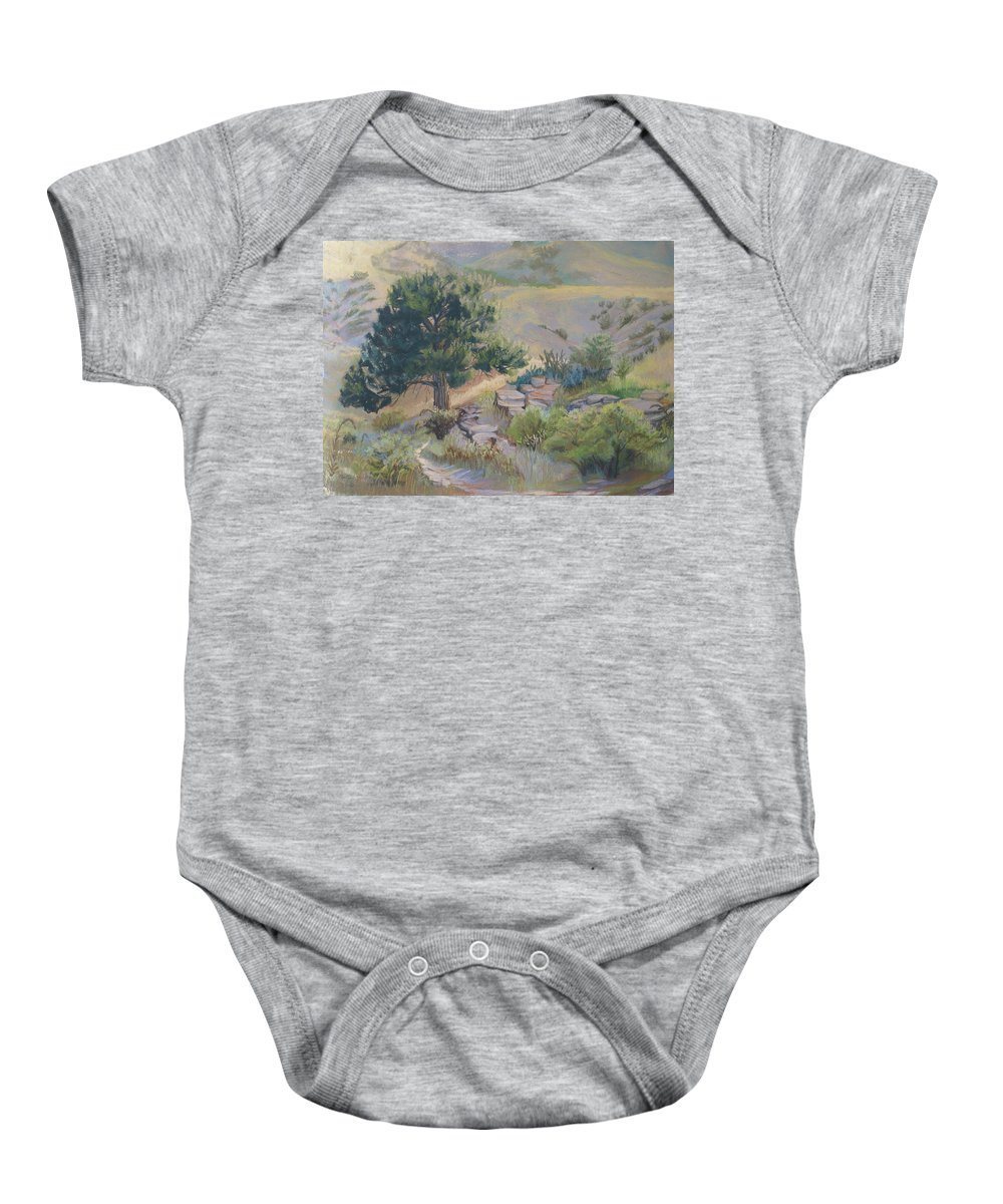 Pine Tree Baby Onesie featuring the painting Buckhorn Canyon by Heather Coen