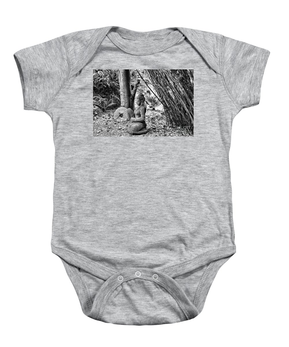 Landscape Baby Onesie featuring the photograph Buddha Black White Liberia Parish by Chuck Kuhn