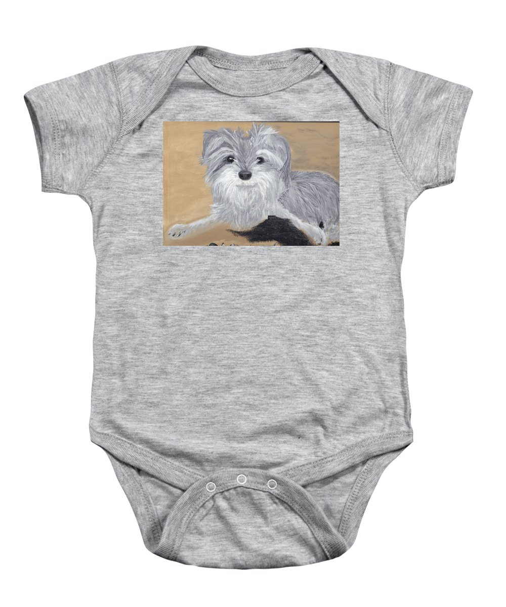 Dog Baby Onesie featuring the painting Buddy by Debbie Levene