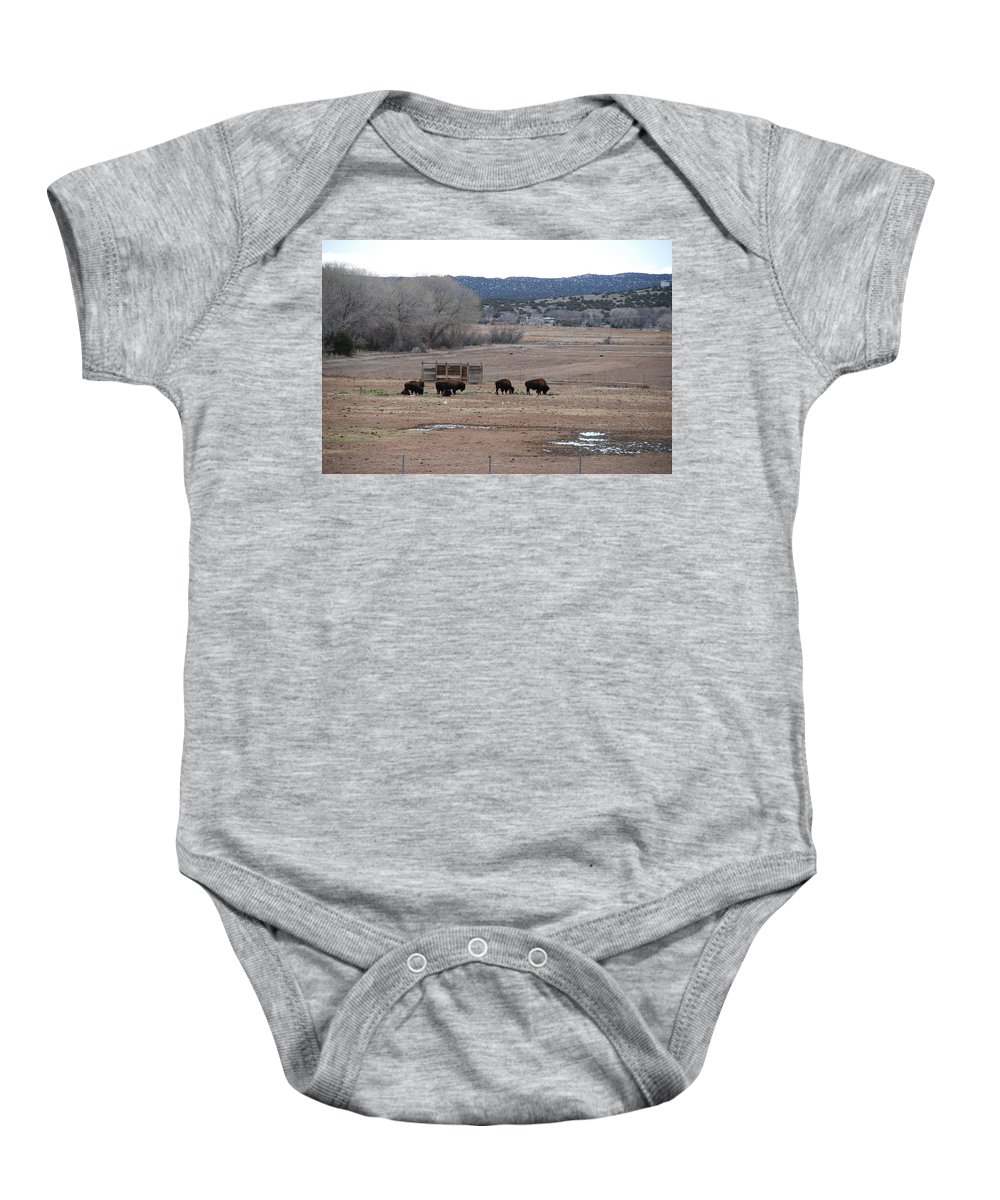 Buffalo Baby Onesie featuring the photograph Buffalo New Mexico by Rob Hans