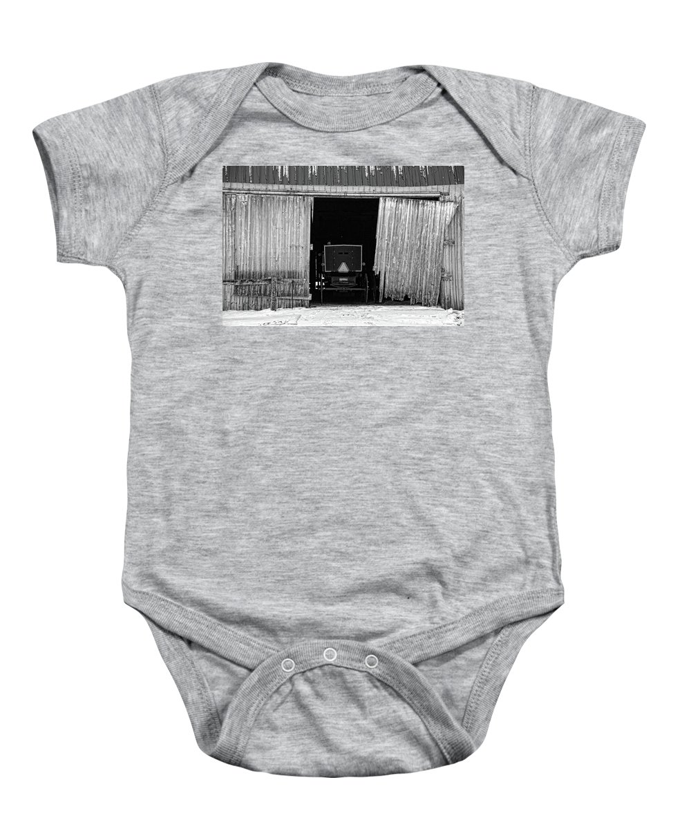 Barn Baby Onesie featuring the photograph Buggy In The Barn by David Arment