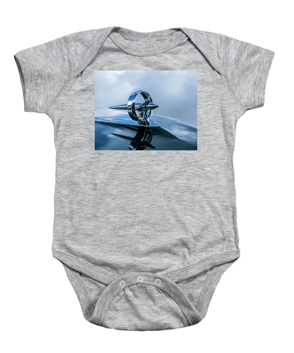 Automotive Photos Baby Onesie featuring the photograph Buick Hood Ornament by Charles Scrofano Jr