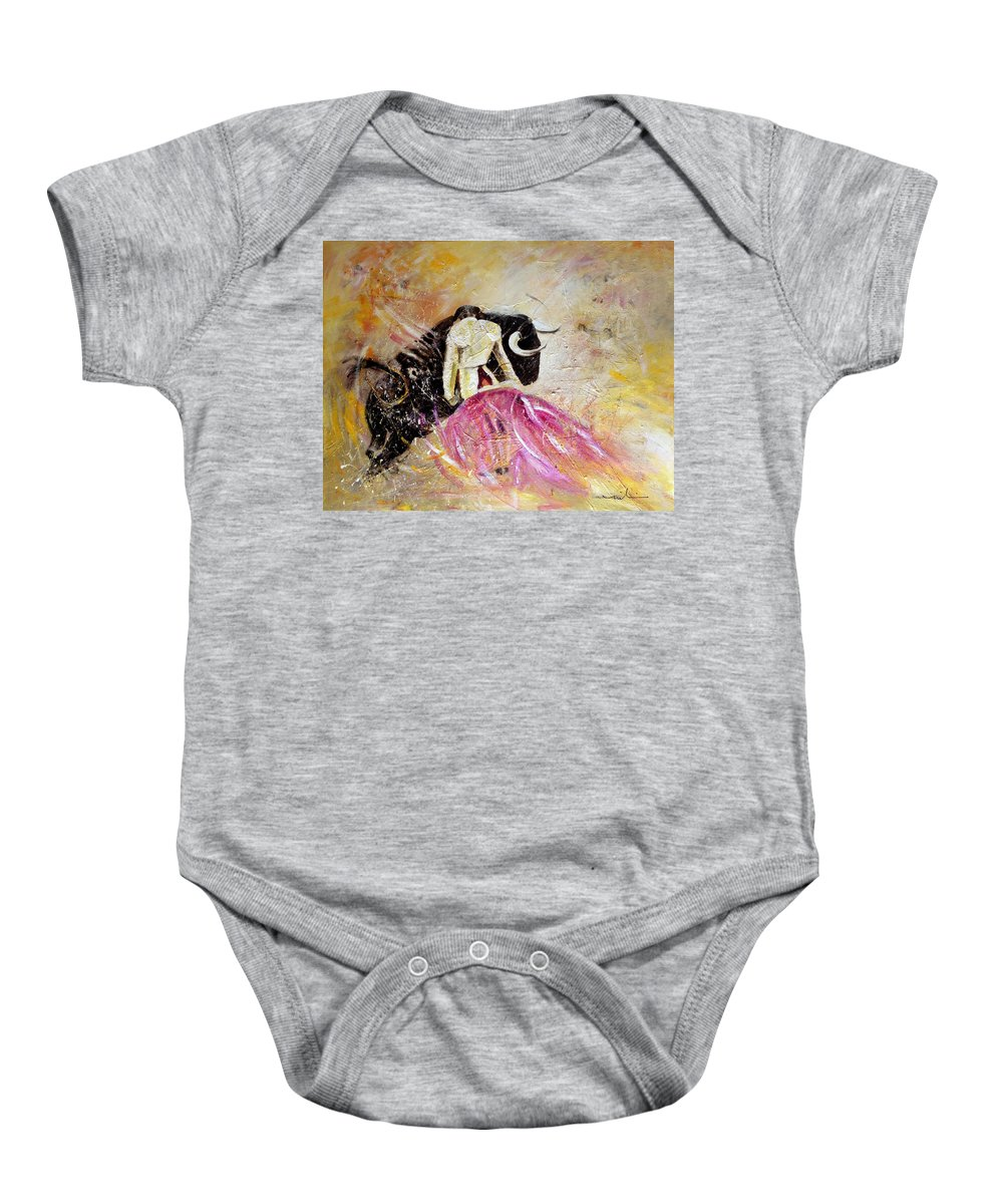 Animals Baby Onesie featuring the painting Bullfight 74 by Miki De Goodaboom
