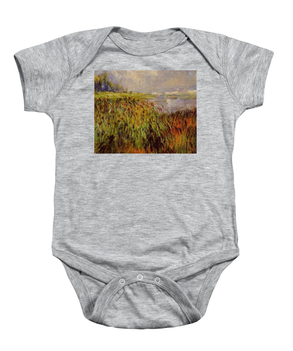 Bulrushes Baby Onesie featuring the painting Bulrushes On The Banks Of The Seine 1874 by Renoir PierreAuguste