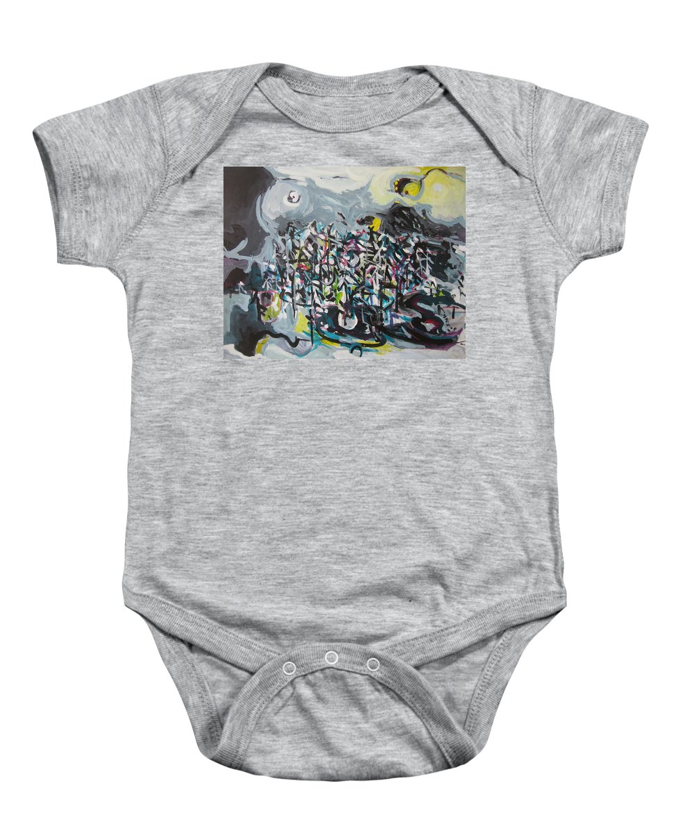 Abstract Paintings Baby Onesie featuring the painting Bummer Flat11 by Seon-Jeong Kim