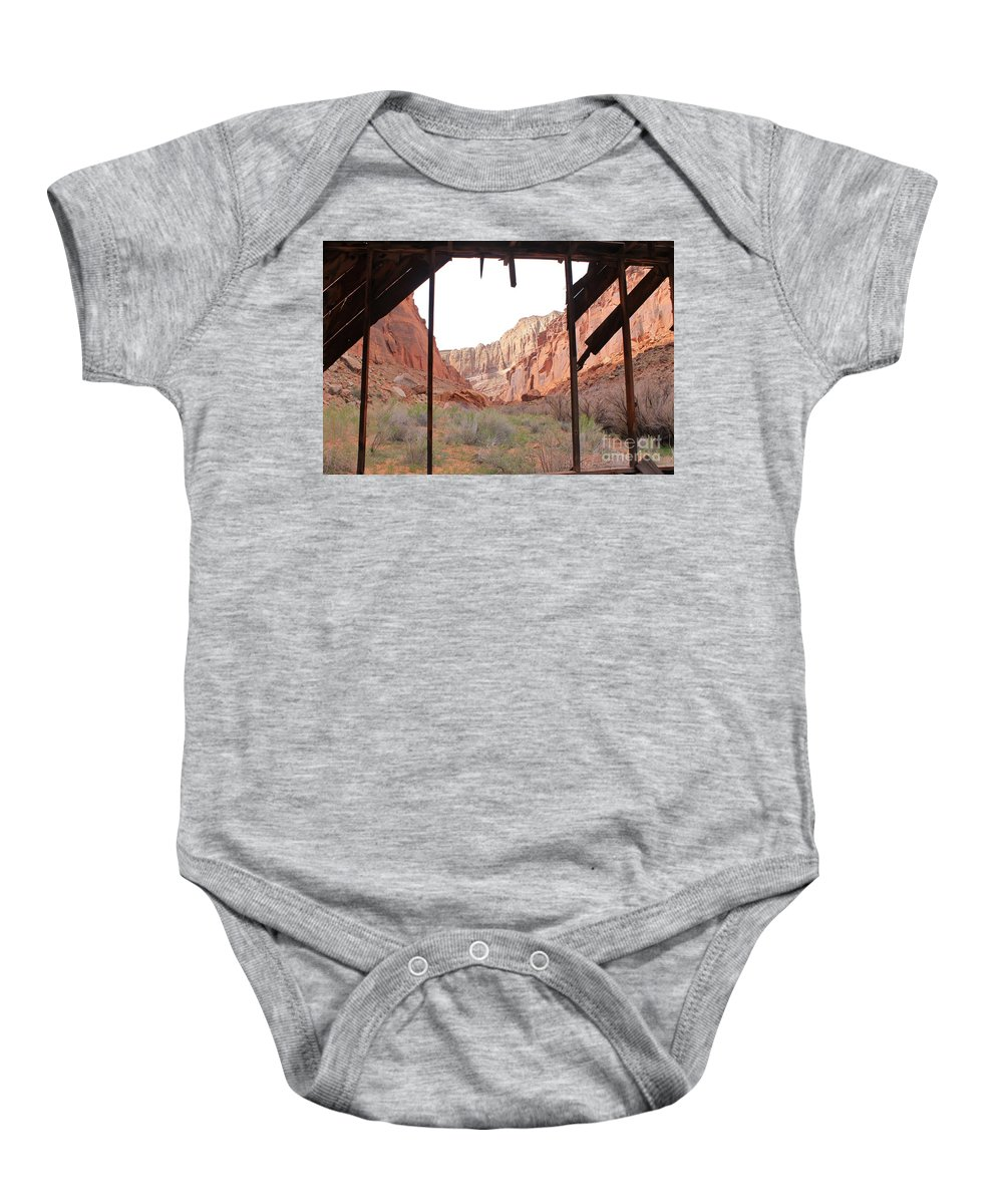 Muddy Creek Baby Onesie featuring the photograph Bunkhouse View 2 by Tonya Hance
