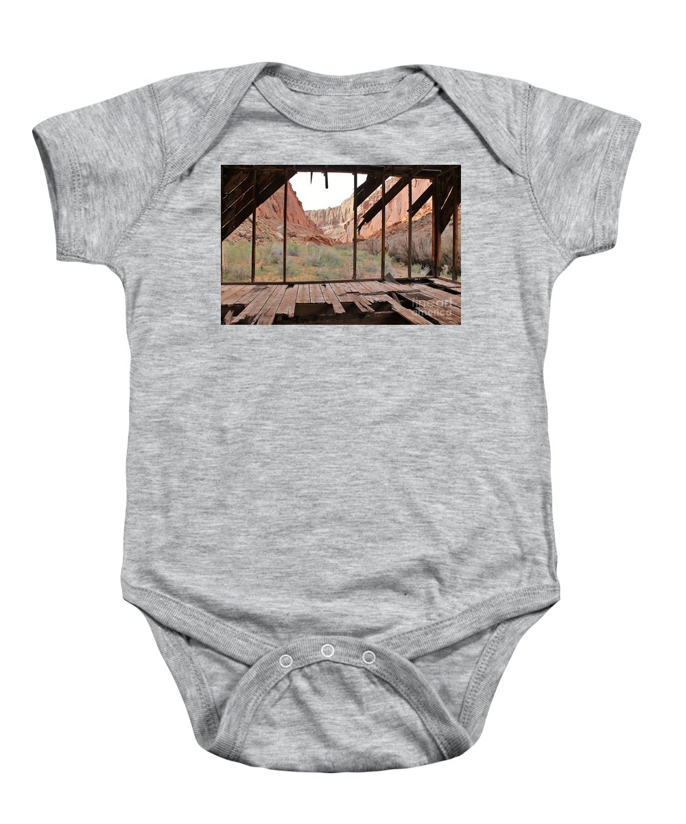 Muddy Creek Baby Onesie featuring the photograph Bunkhouse View 4 by Tonya Hance