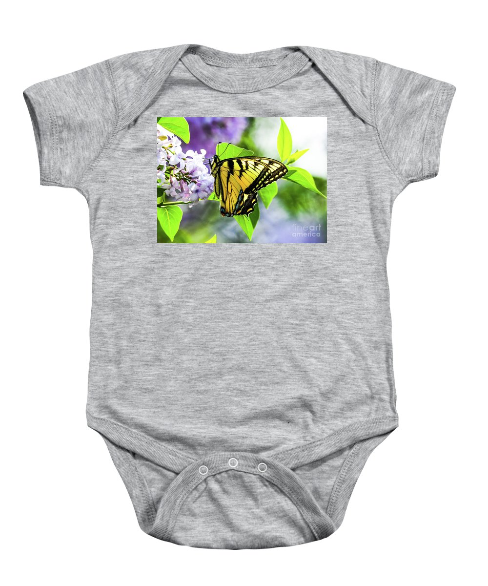 Lilacs Baby Onesie featuring the photograph Butterfly And Lilacs by Libby Lord