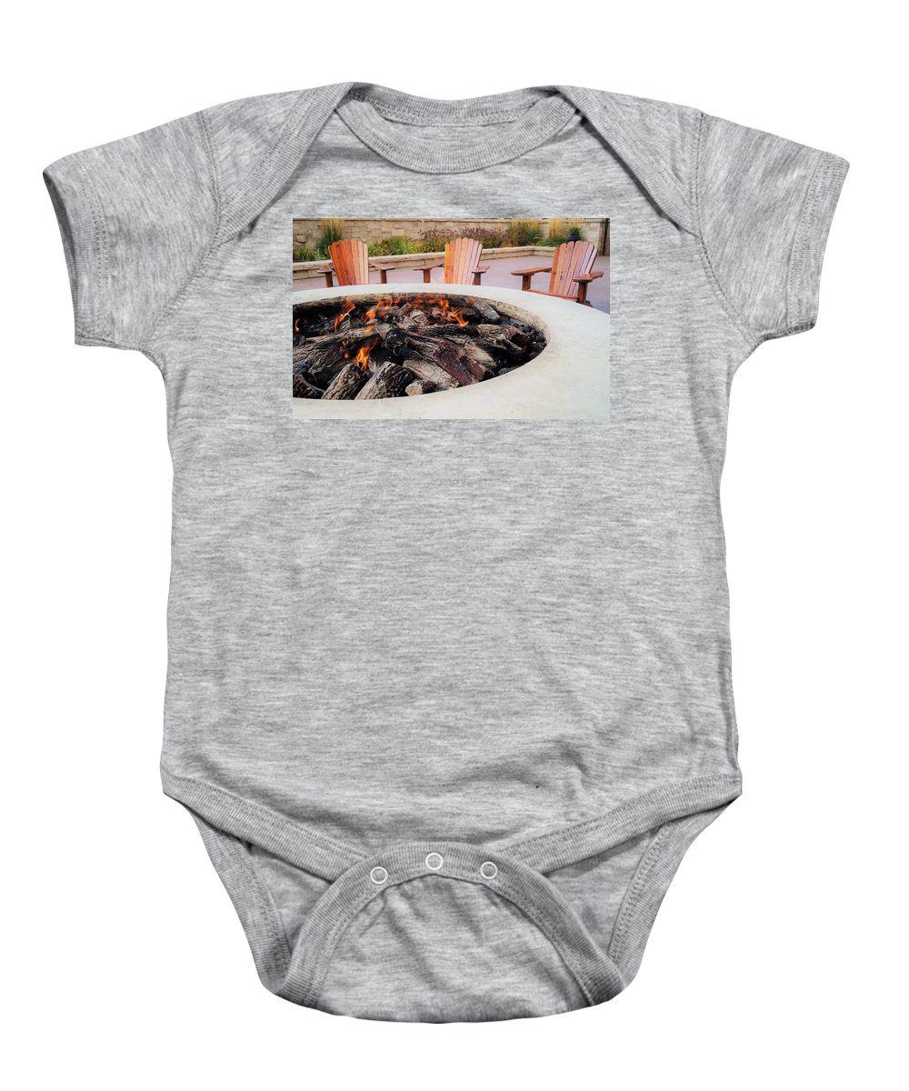 Adirondack Chairs Baby Onesie featuring the photograph By The Fire by Andrea Rea