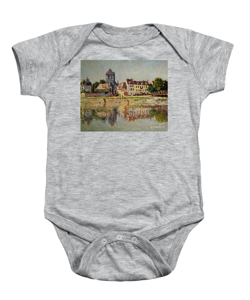 Monet Baby Onesie featuring the painting By The River At Vernon by Claude Monet