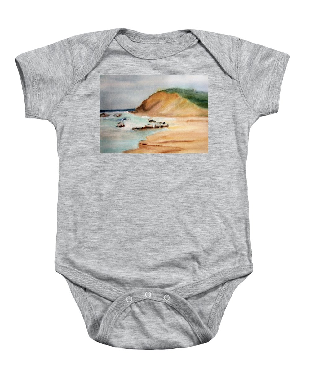 Watercolor Baby Onesie featuring the painting By The Sea by Dolores Pettit
