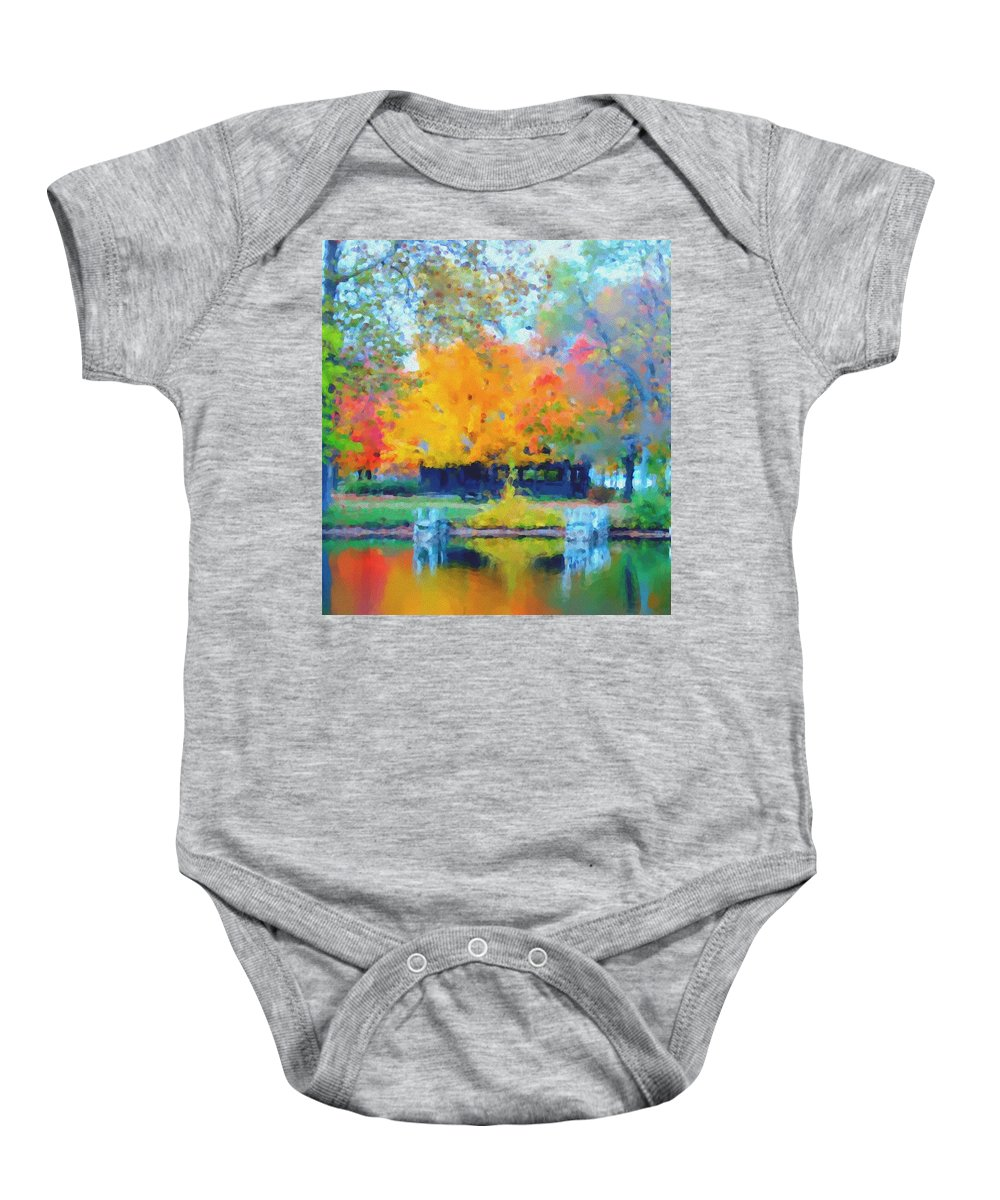 Digital Photograph Baby Onesie featuring the photograph Cabin In The Park II by David Lane