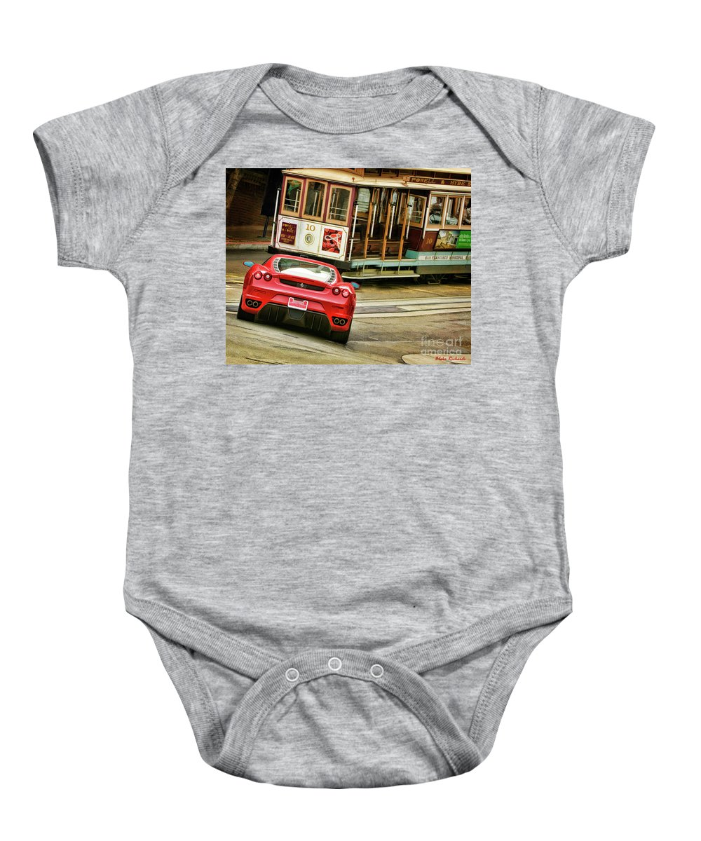 Art Baby Onesie featuring the photograph Cable Car Meets Ferrari by Blake Richards