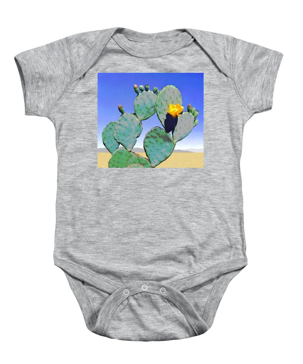 Cactus Baby Onesie featuring the digital art Cactus Flower by Snake Jagger