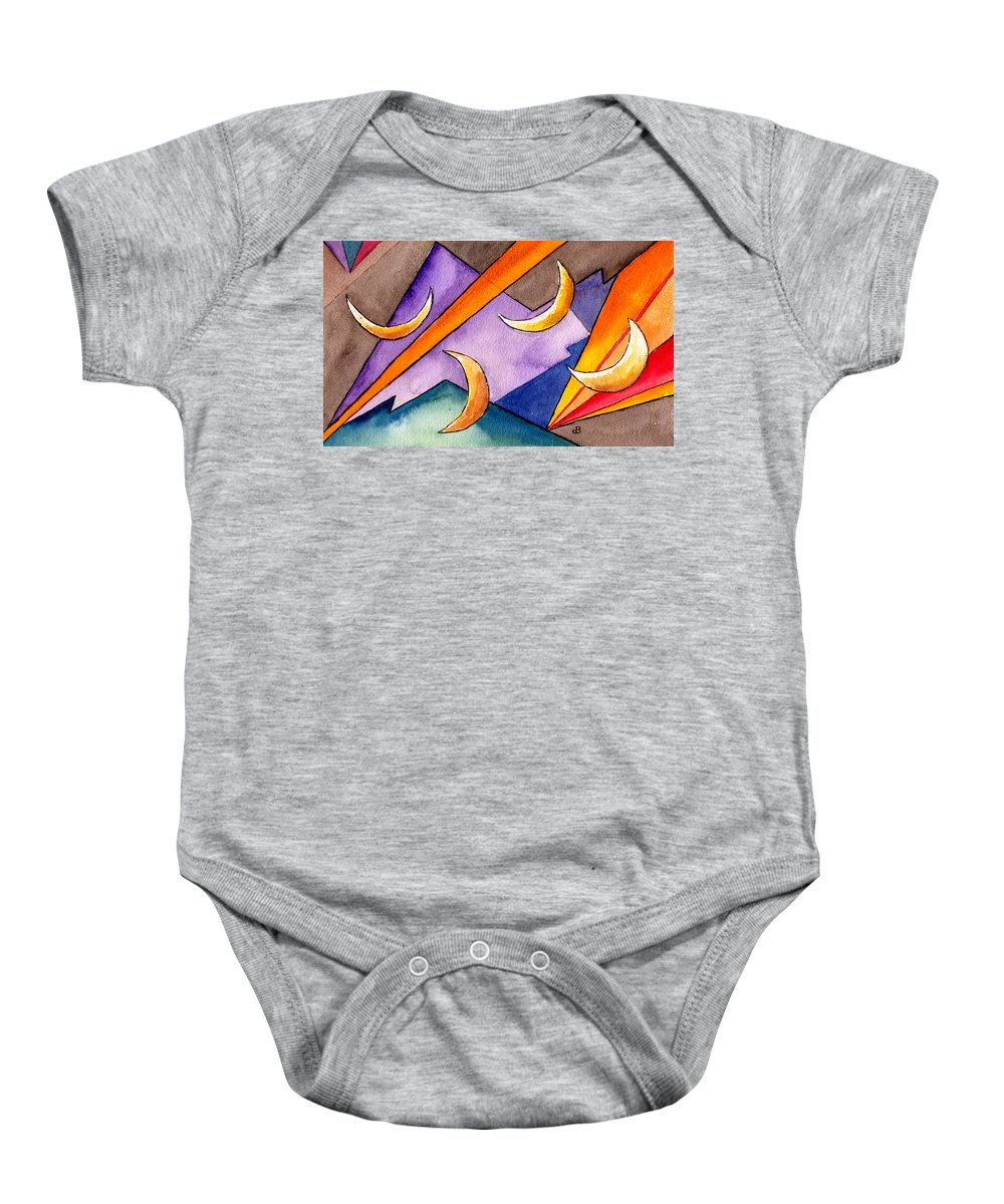 Watercolor Abstract Orange Purple Grey Moon Moons Design Fantasy Surreal Baby Onesie featuring the painting Cadence by Brenda Owen