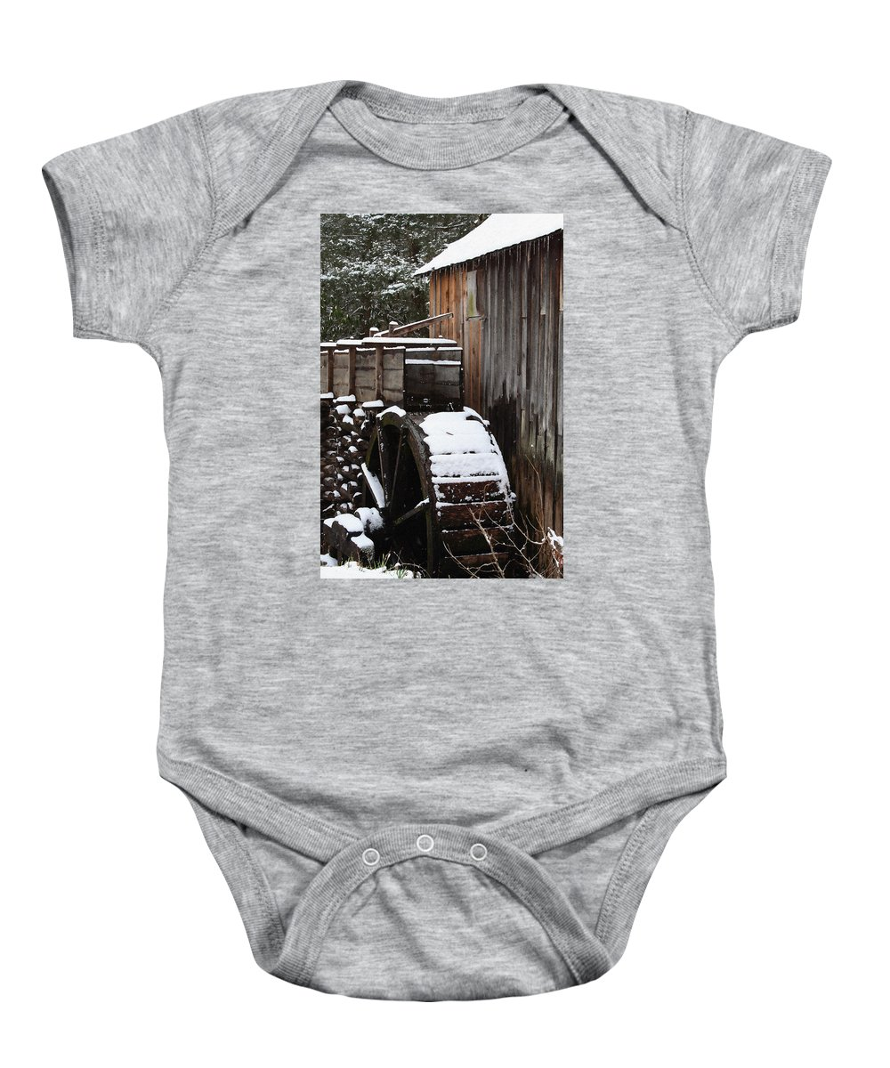 Great Smoky Mountains Baby Onesie featuring the photograph Cades Cove Mill I by Margie Wildblood